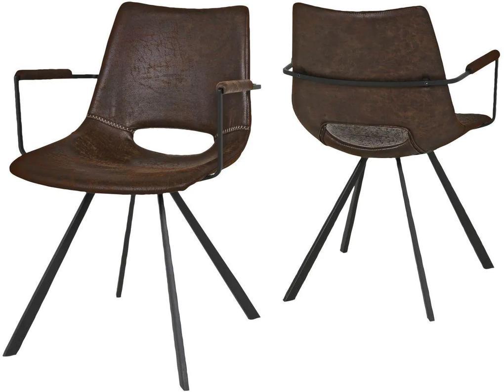Dizajnová stolička Izabella s opierkami / hnedá-čierna