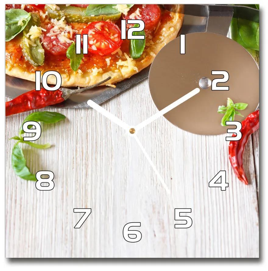Sklenené nástenné hodiny štvorec Pizza pl_zsk_30x30_f_68071696