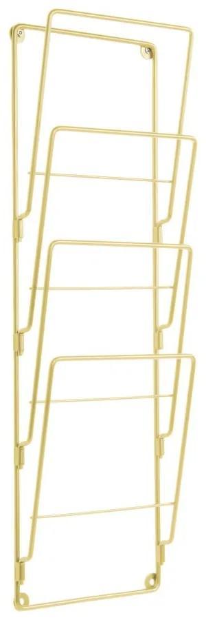 Nástenný držiak na časopisy z pozinkovanej ocele v zlatej farbe PT LIVING Magazine