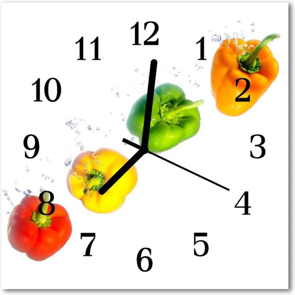 Nástenné skleněné hodiny paprika