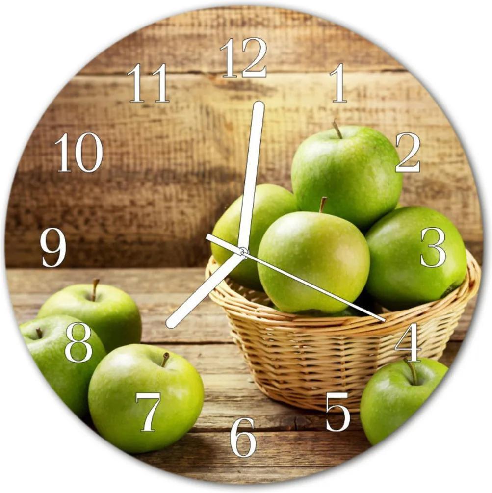 Nástenné skleněné hodiny jablko