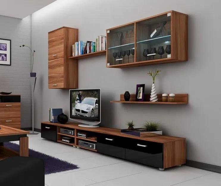 MEBLOCROSS Magic obývacia stena slivka / čierna