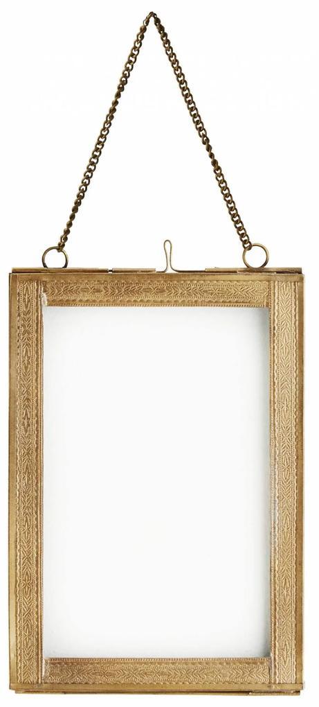 MADAM STOLTZ Sklenený fotorámik Antique brass - menší