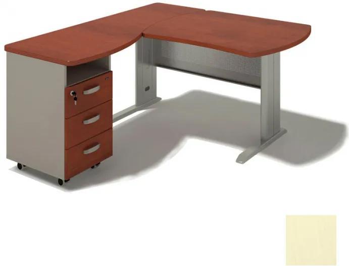 Rohový písací stôl BERN s kontajnerom - dĺžka 2000 mm, kovová podnož, breza