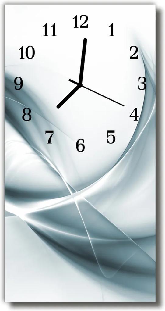 Skleněné hodiny vertikální Umění Abstrakce stříbrná