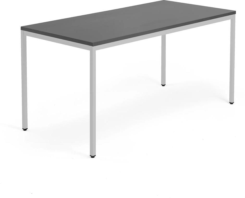 Stôl Modulus 1600x800mm, strieborná konštrukcia, čierny