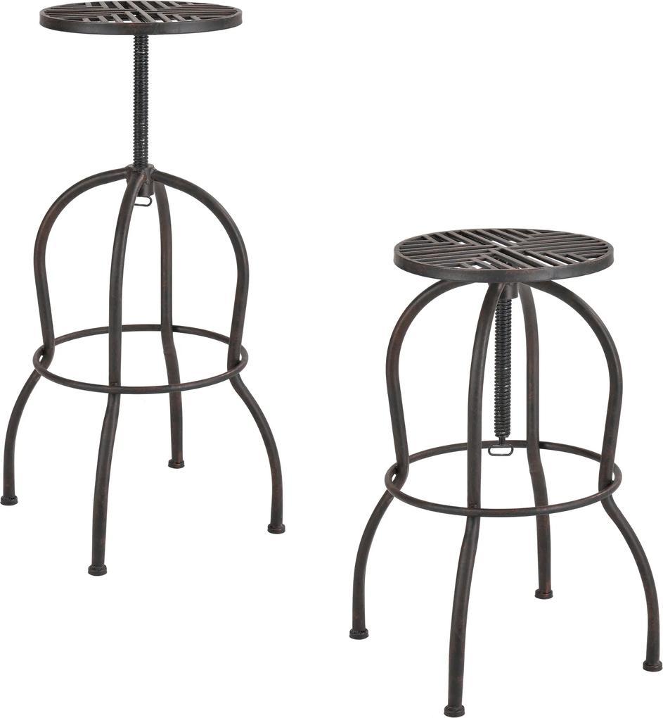 [en.casa]® Sada 2 barových stoličiek - 66 x 39 x 39 cm - hnedá patina