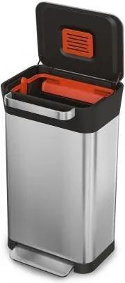 Nerezový odpadkový kôš so stlačovacou mechanikou odpadu JOSEPH JOSEPH IntelligentWaste™ Titan 30030