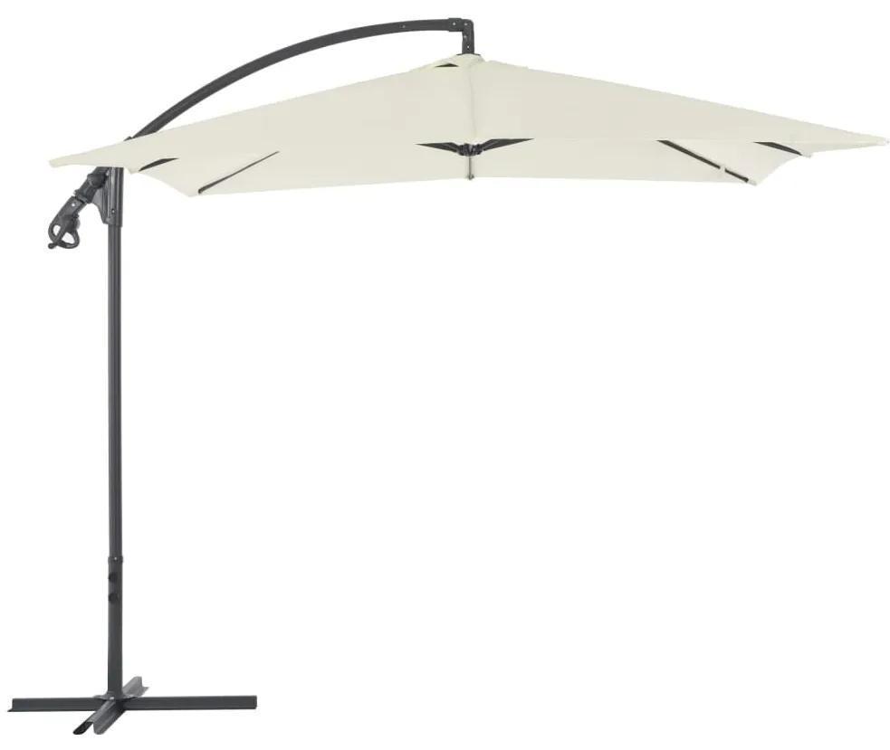 vidaXL Závesný slnečník s oceľovou tyčou 250x250 cm pieskový