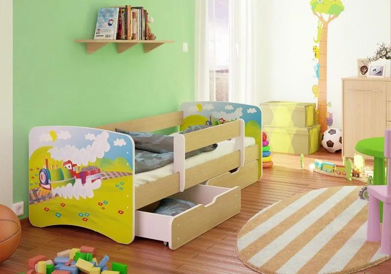 MAXMAX Detská posteľ VLÁČIK funny 160x90cm - so zásuvkou 160x90 pre všetkých ÁNO