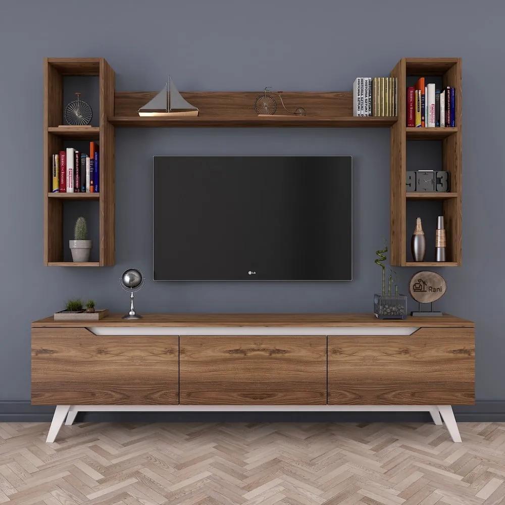 Set TV stolíka a 3 nástenných políc v drevenom dekore Wren