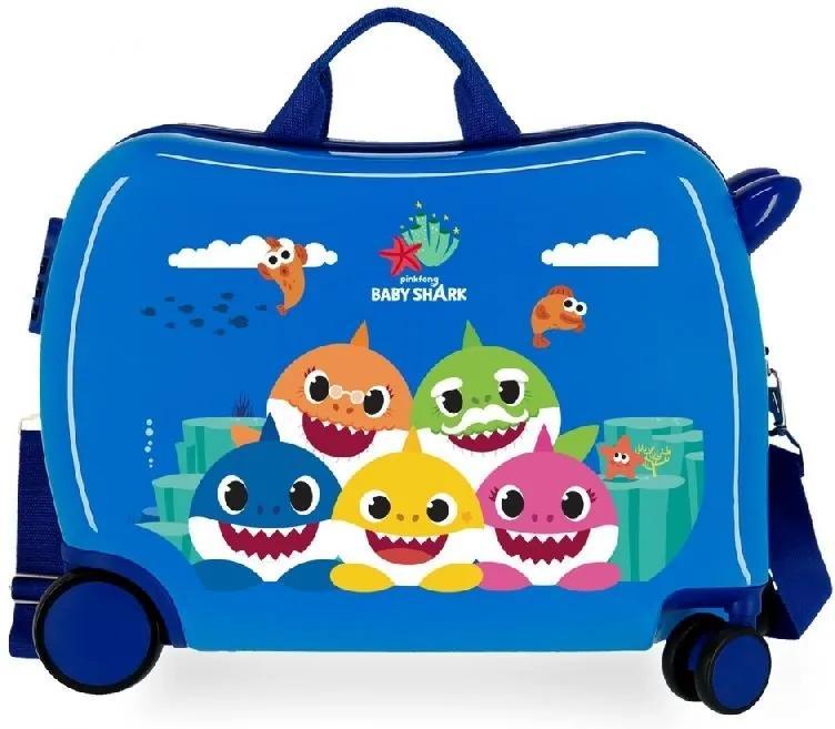 JOUMMABAGS Detský kufrík na kolieskach Happy Family Baby Shark MAXI ABS plast, 50x38x20 cm, objem 34 l