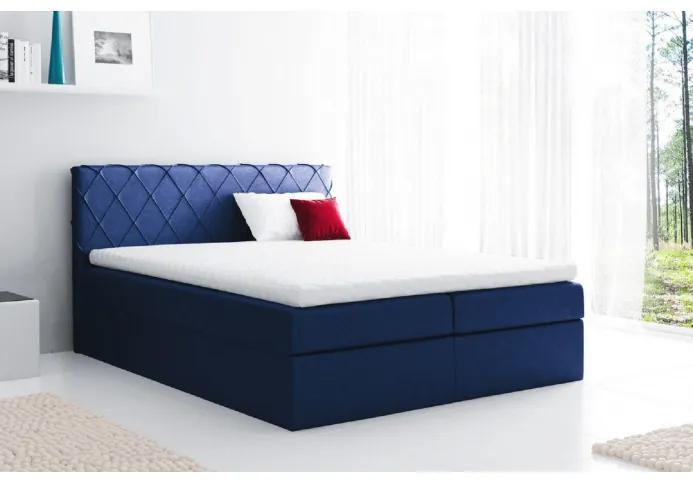 Pohodlná čalúnená posteľ Perez 120x200, modrá