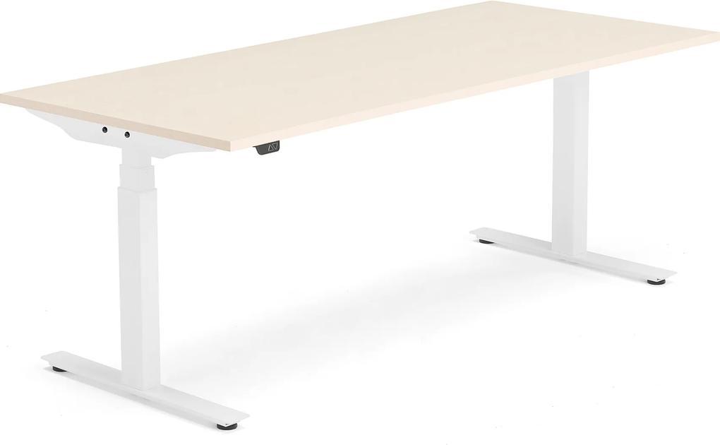 Výškovo nastaviteľný stôl Modulus, T-rám, 1800x800 mm, breza/biela