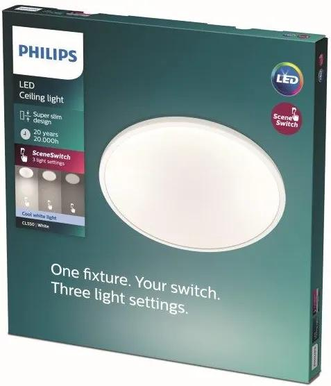 Philips SuperSlim Clear LED CL550 stropné svietidlo 250mm 15W/1500lm 4000K SceneSwitch