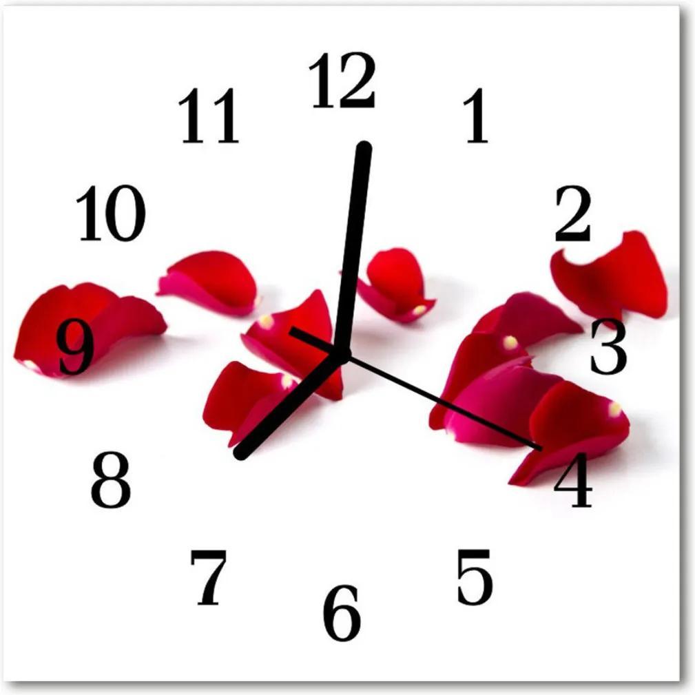 Nástenné skleněné hodiny Lístky růží