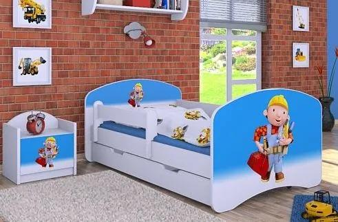 MAXMAX Detská posteľ so zásuvkou 140x70 BOŘEK STAVITEL
