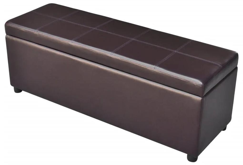 vidaXL Hnedá drevená dlhá skladovacia lavica