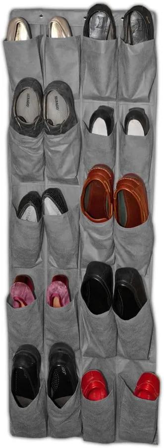 Sivý závesný organizér na topánky JOCCA Twenty, 135 × 48 cm
