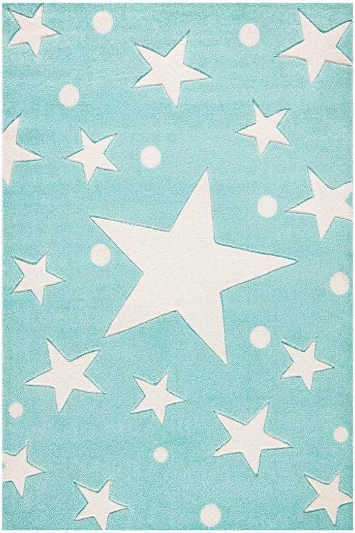 MAXMAX Dětský koberec STARS mátový 160x230 cm Rozměr: - 80x150 cm - 120x80 cm - 160x230 cm