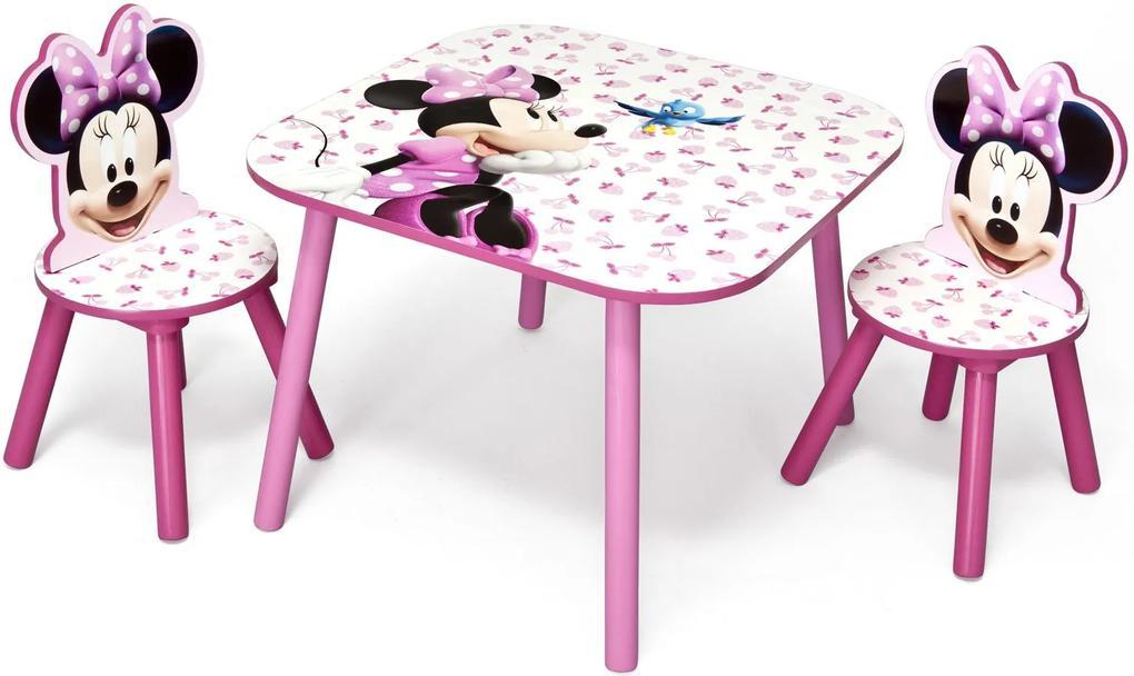 MAXMAX Detský stôl s stoličkami MYŠKA MINNIE III Stůl: 60x60x43,8cm Židle: 27x27x52,5cm biela|červená|ružová|multicolor pre dievča