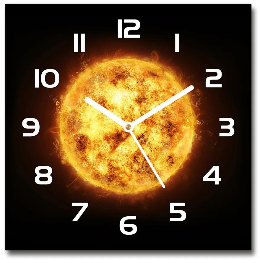 Sklenené nástenné hodiny štvorec Slnko pl_zsk_30x30_f_80685077