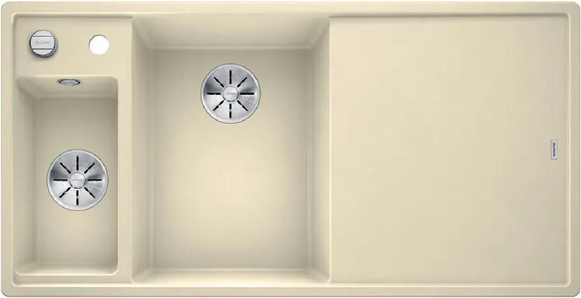 Granitový kuchynský drez - Blanco AXIA III 6 S jazmín s excentrom + sklenená doska na krájanie 524658