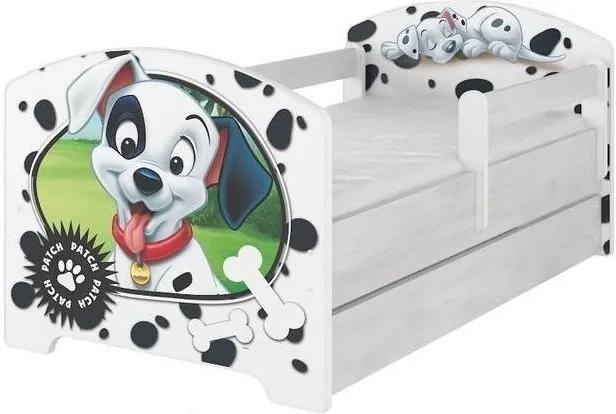 MAXMAX Detská posteľ so zásuvkou Disney - 101 dalmatíncov 140x70 cm 140x70 pre dievča|pre chlapca|pre všetkých ÁNO