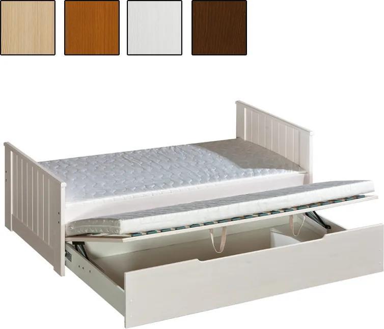MAXMAX Detská posteľ s výsuvnou prístelkou z MASÍVU 200x90cm so zásuvkou - TOM 200x90 ÁNO