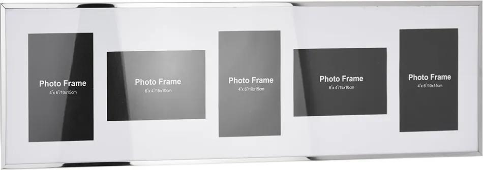 DekorStyle Nástenný rámček pre 5 fotografií 10 × 15 cm - biely