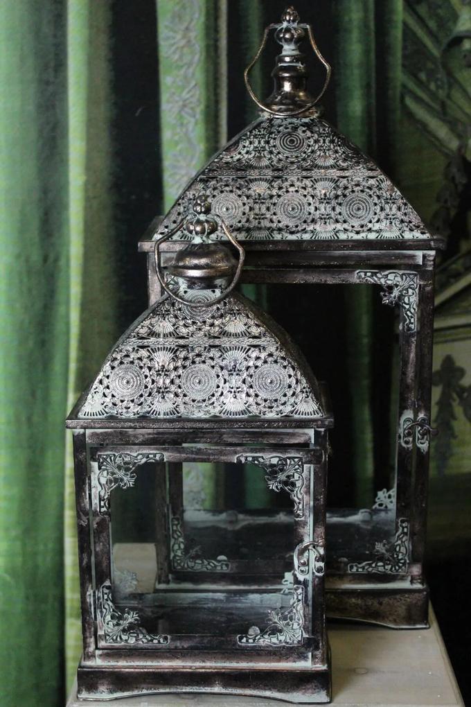 Sivé hranaté kovové lampáše 2-set
