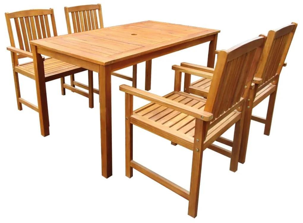 vidaXL 5-dielna vonkajšia jedálenská súprava masívne akáciové drevo