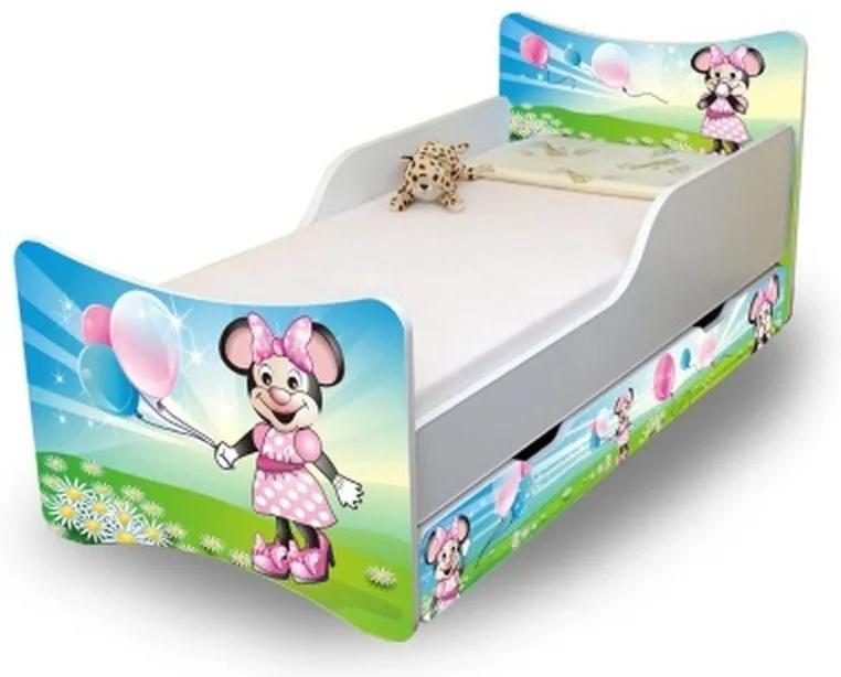 MAXMAX Detská posteľ so zásuvkou 180x80 cm - MYŠKA s balónikmi 180x80 pre dievča ÁNO