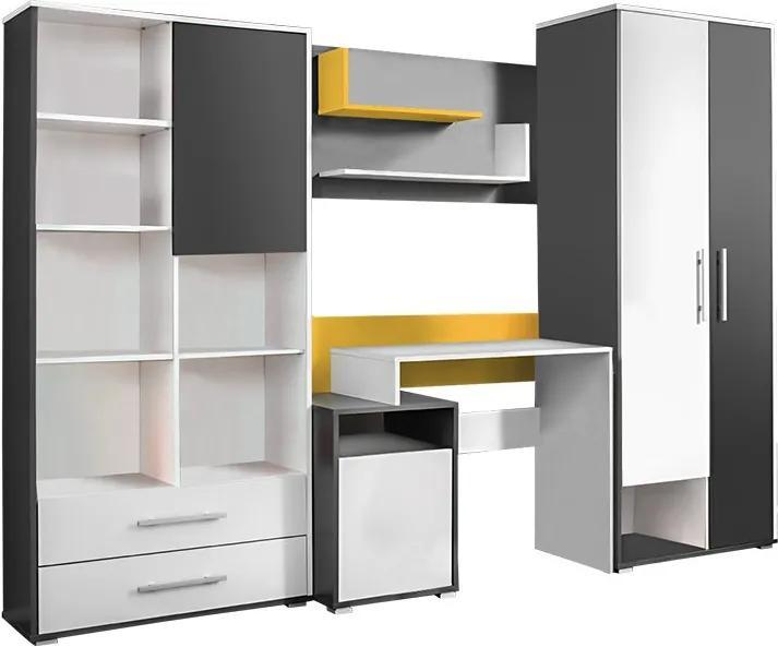 KONDELA Masimo obývacia stena antracit / biela / žltá