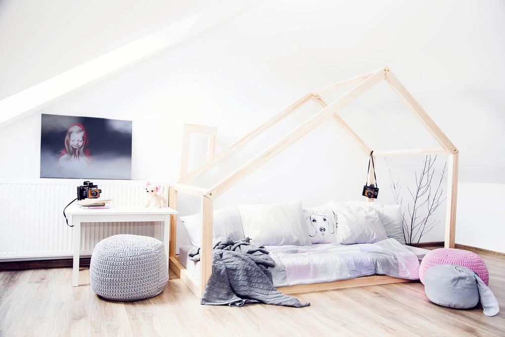 MAXMAX Detská posteľ z masívu DOMČEK - TYP D 180x90 cm