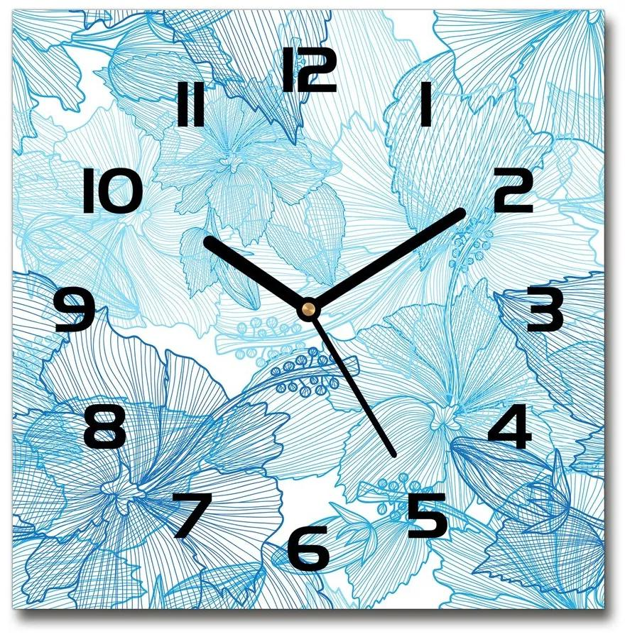 Sklenené hodiny štvorec Havajské kvety pl_zsk_30x30_f_67130286