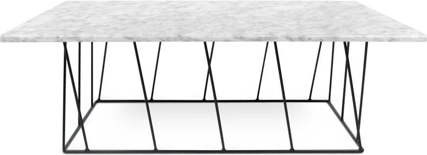Biely mramorový konferenčný stolík s čiernymi nohami TemaHome Heli×, 120 cm
