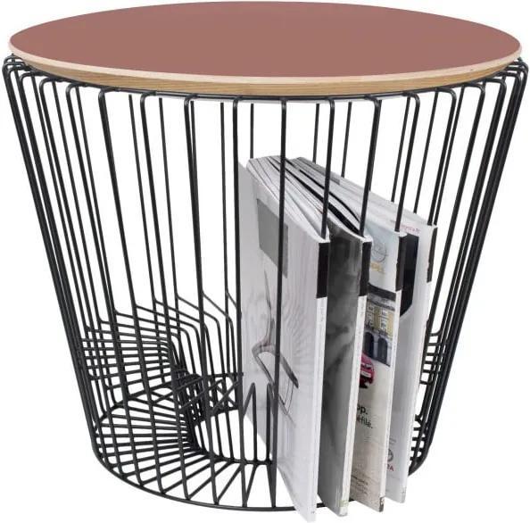 Odkladací stolík z lakovaného kovu s ružovou doskou HARTÔ, Ø 50 cm