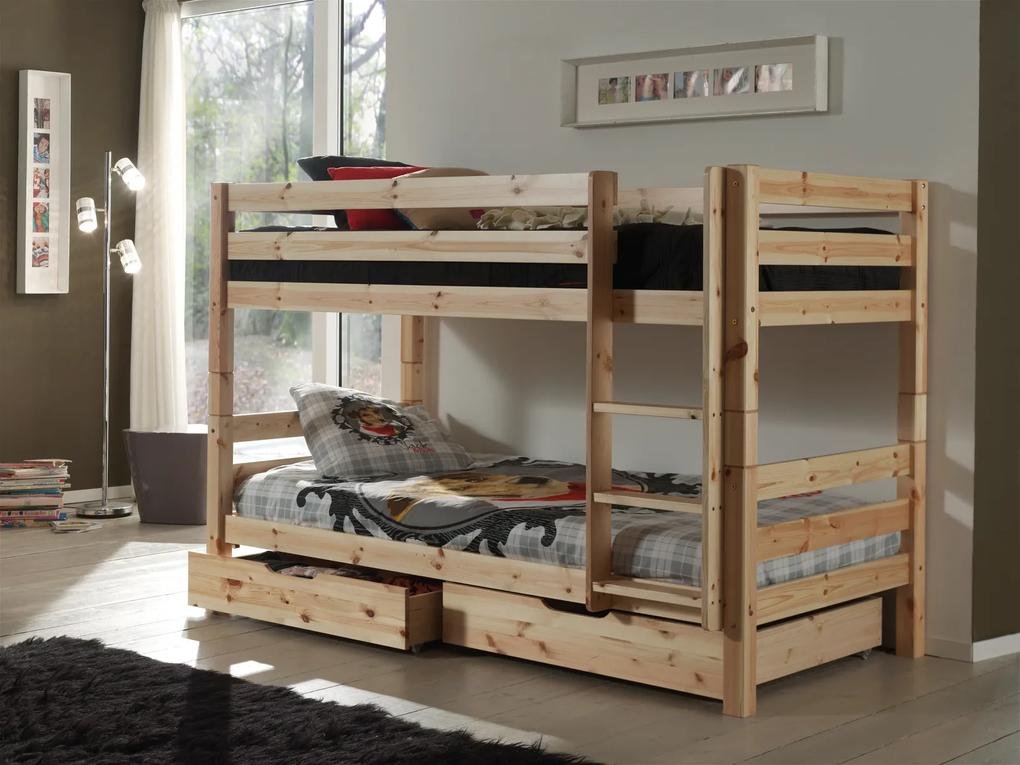 Poschodová posteľ z masívu so zásuvkami PISBZG10