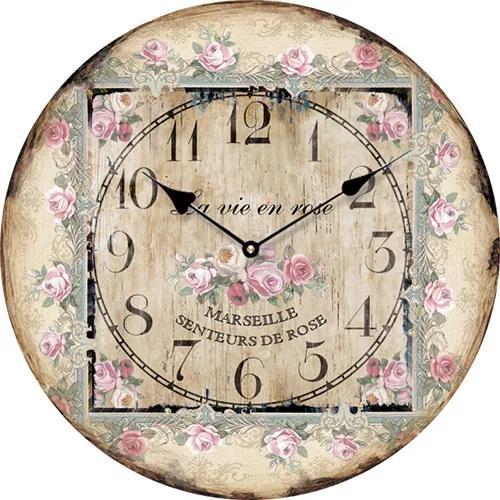 Drevené nástenné hodiny La Vie En Rose 15 cm