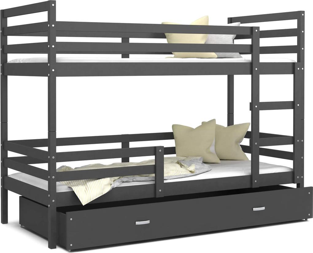 GL Dvojposchodová posteľ Erik 2 sivá Color Farba: Sivá, Rozmer: 190x80