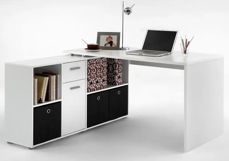 Písací stôl s regálom Lex, biely