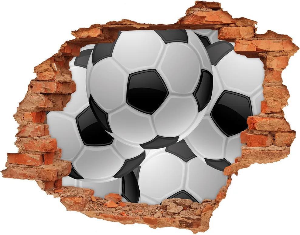 Fototapeta diera na stenu 3D Futbal WallHole-cegla-90x70-65189823