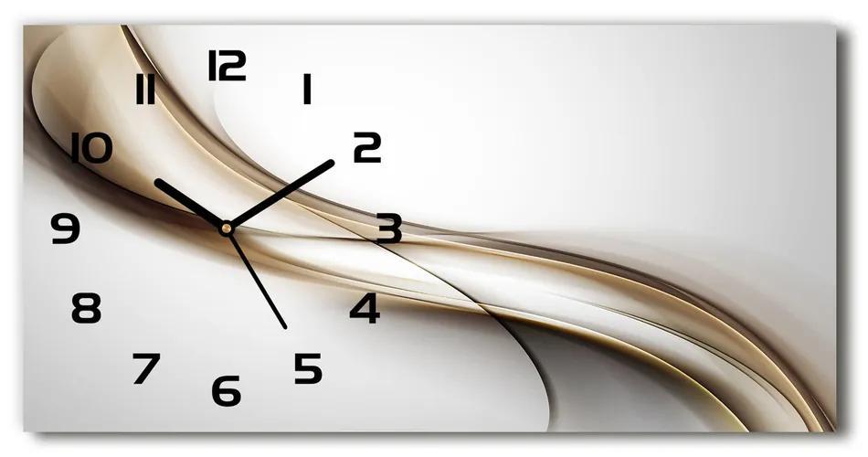 Sklenené hodiny na stenu tiché Hnedá vlna pl_zsp_60x30_f_85720203