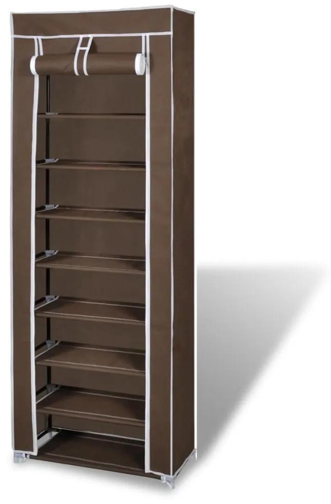 vidaXL Látkový botník, prekrytý, 57 x 29 x 162 cm, hnedý