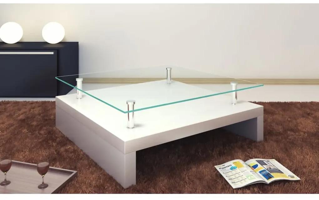 vidaXL Konferenčný stolík so sklenenou doskou, biely