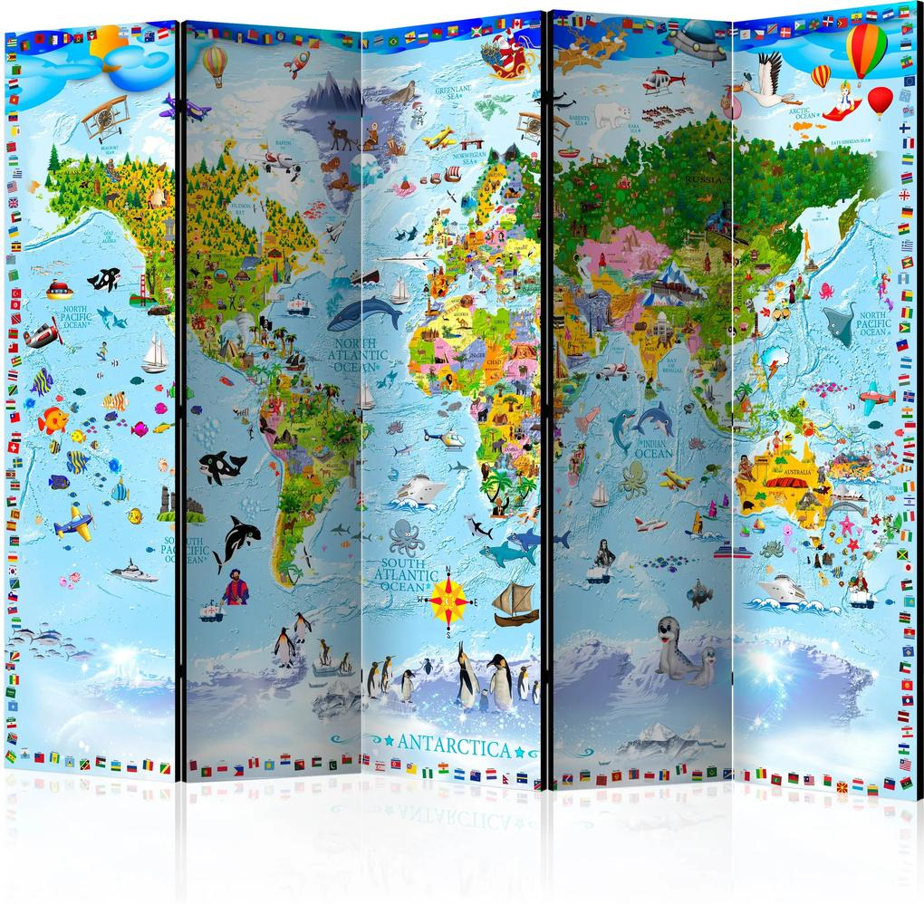 Paraván - World Map for Kids II [Room Dividers] 225x172