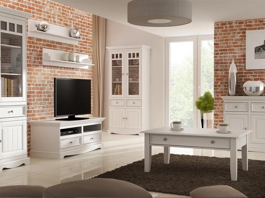 Obývačka Belluno Elegante, biela, masív, borovica