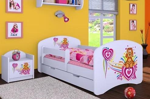 MAXMAX Detská posteľ so zásuvkou 160x80cm PSÍK A SRDIEČKO