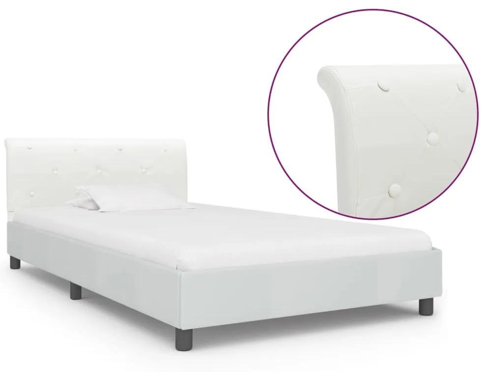 vidaXL Posteľný rám, biely, umelá koža 100x200 cm
